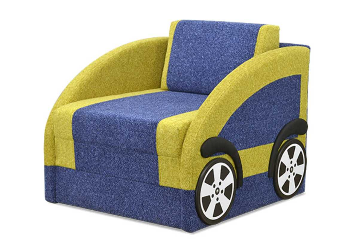 детский диван машинка смарт желтый с синим