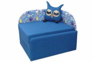 кресло кровать сова голубое