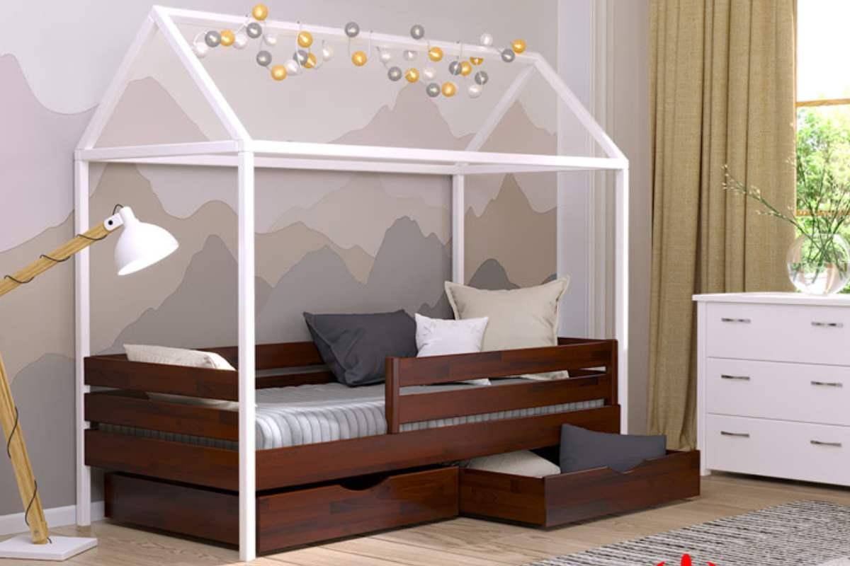 кровать домик амми из бука цвет 108