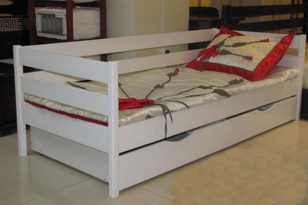 детская кровать из бука нота белая