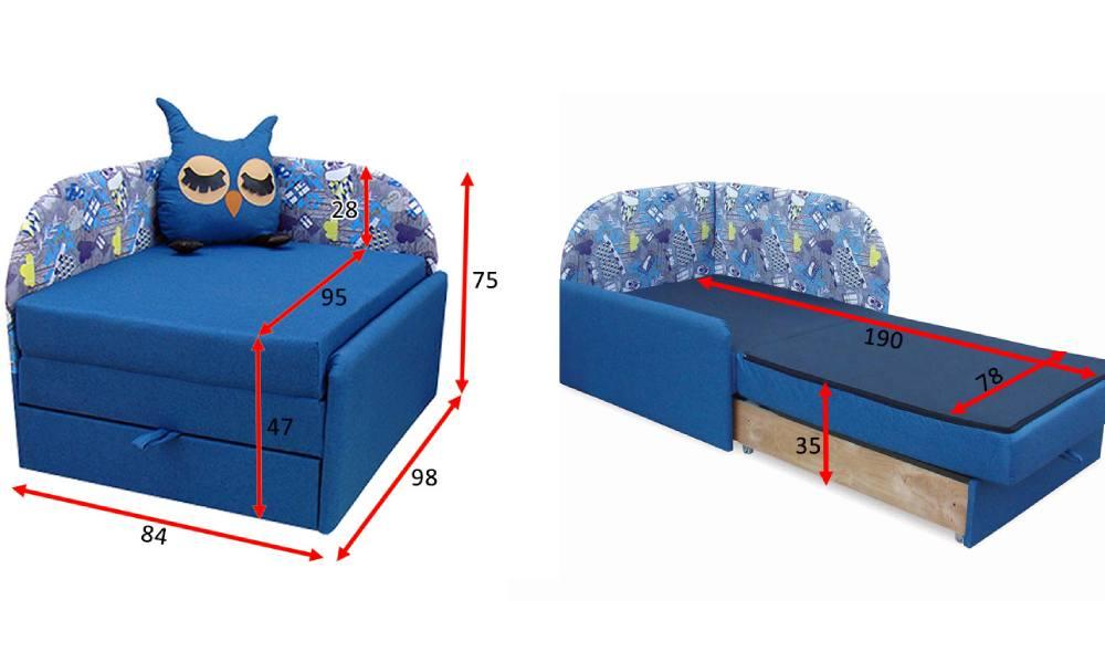 схема детского дивана сова