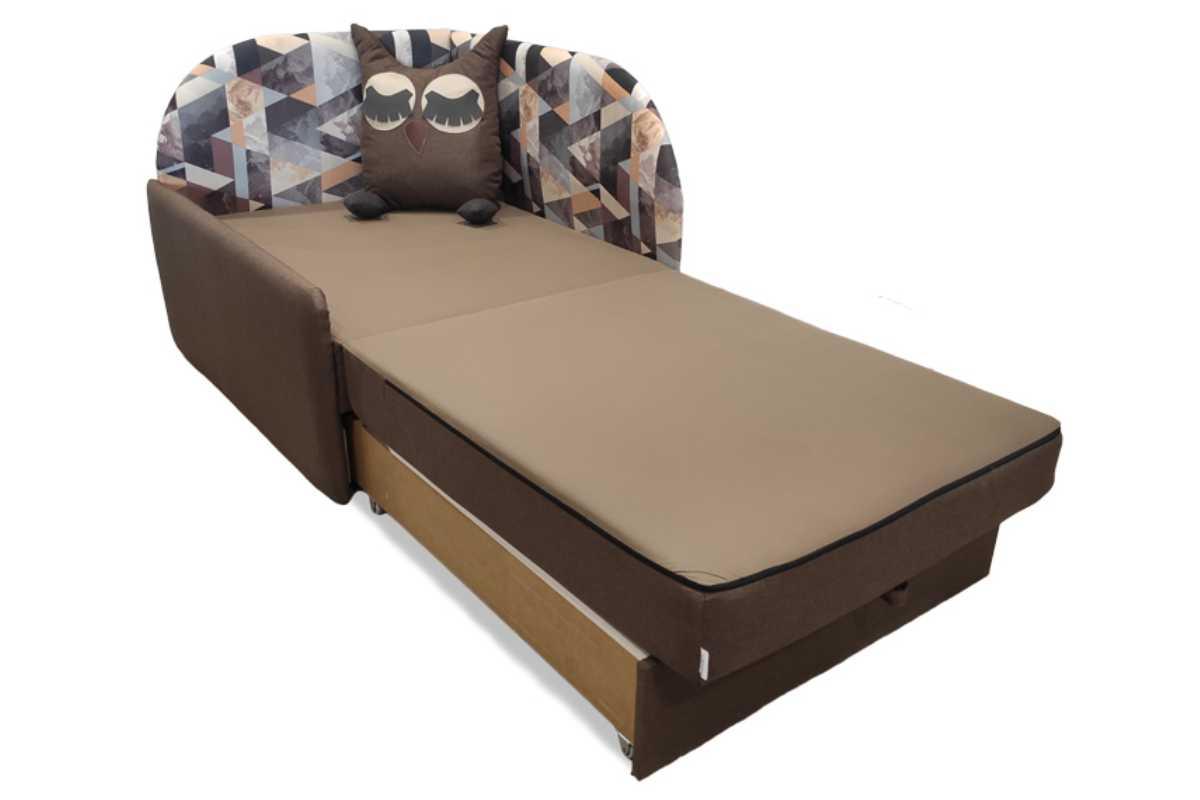 кресло кровать сова коричневое