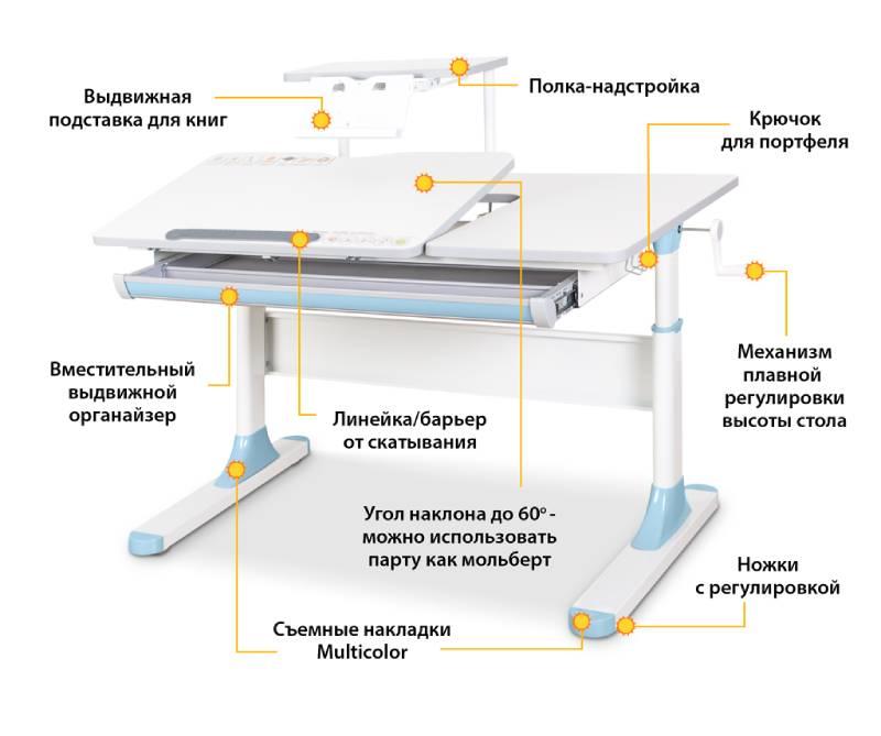 Детский стол Mealux Vancouver BD-620 W-G с полочкой