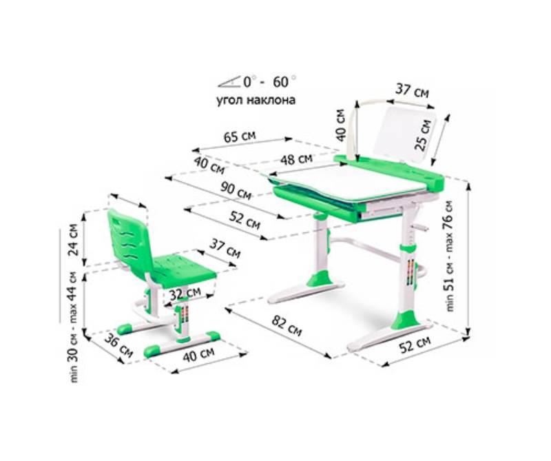 комплект парта и стул Evo-19 схема