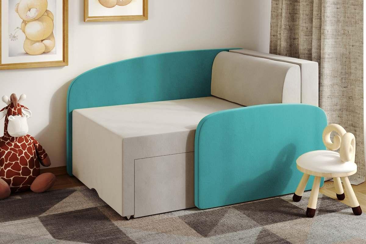 детский диванчик смайл бирюзовый в комнате