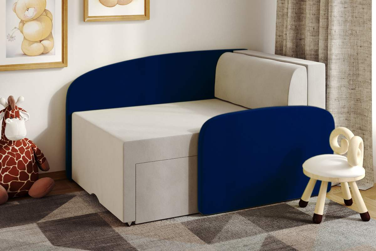 детский диванчик смайл синий в комнате