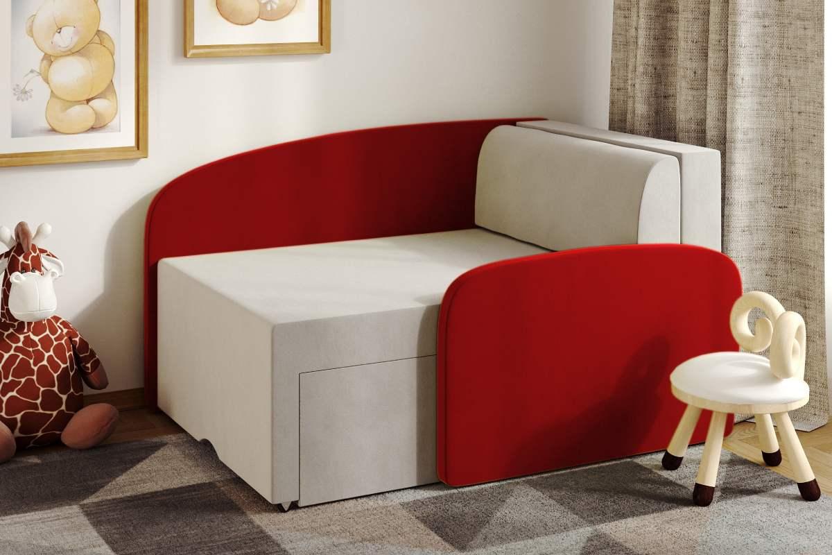 детский диванчик смайл красный в комнате
