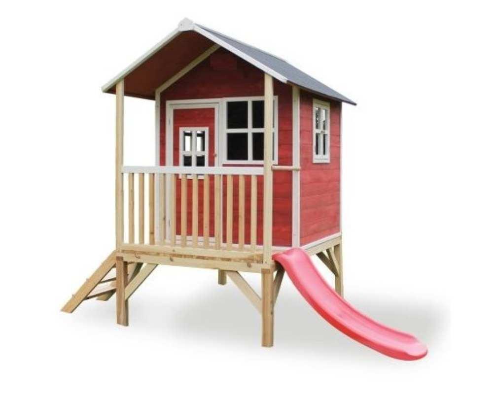 деревянный домик с лестницей и горкой 60 см