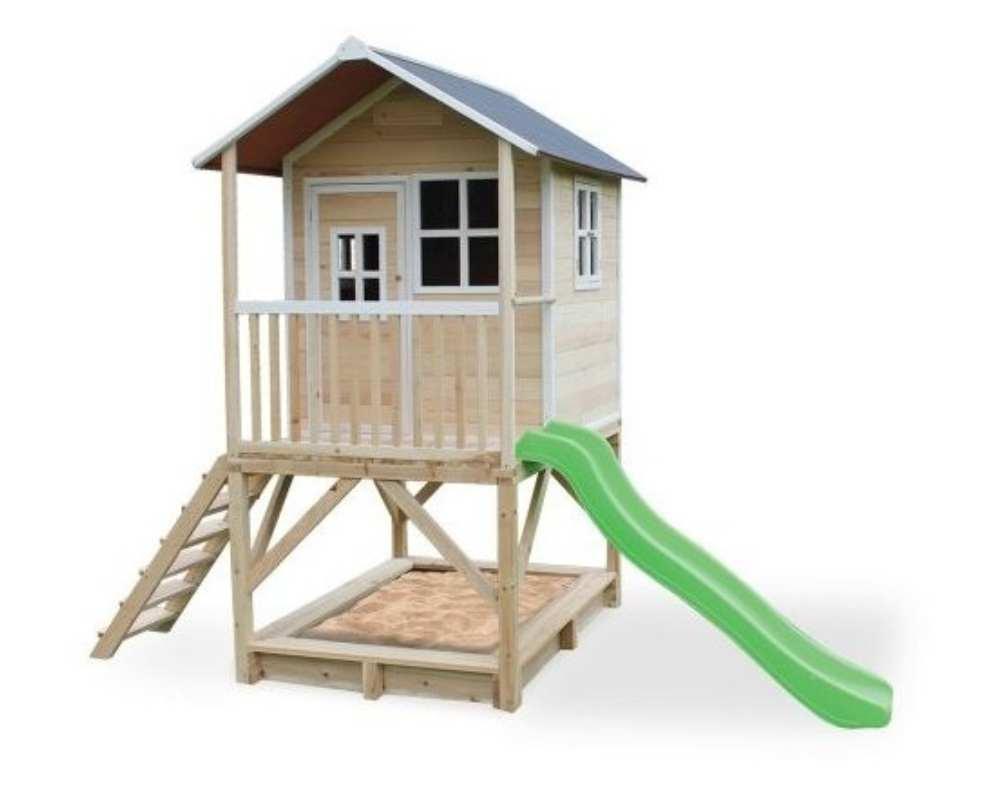 деревянный домик с горкой зеленой