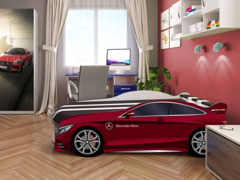 кровать машина мерседес космос красная в комнате