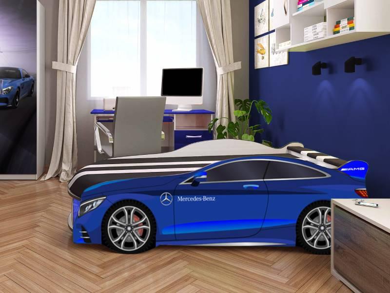 кровать машина мерседес космос синяя