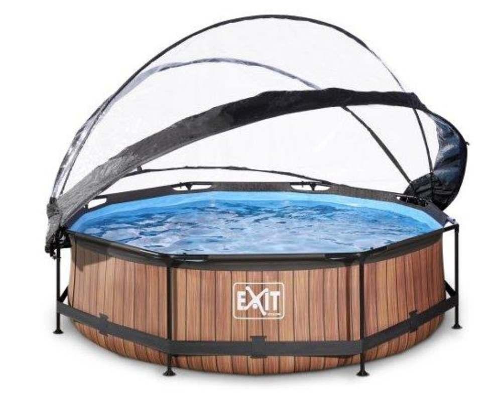 круглый бассейн 300х76 см дерево с куполом