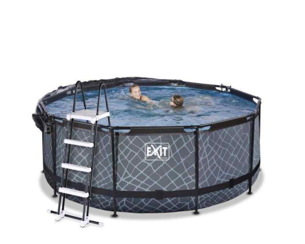 круглый бассейн 360х122 см камень с открытым куполом