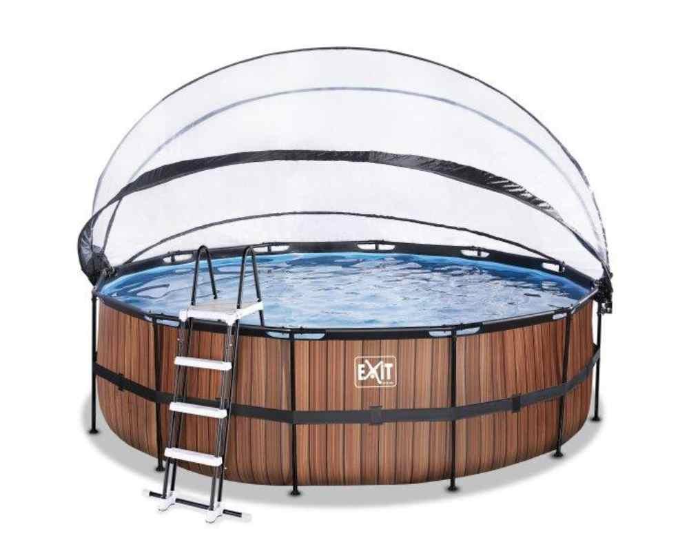 круглый бассейн 450х122 см дерево с куполом