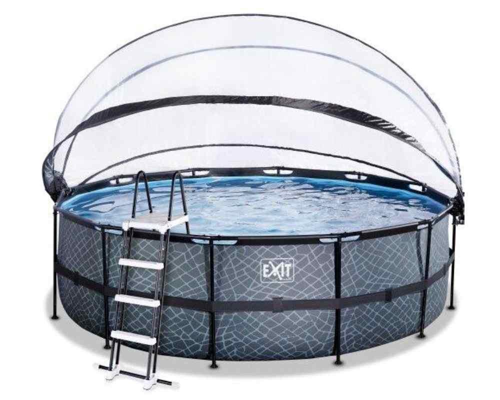 круглый бассейн 450х122 см камень с куполом