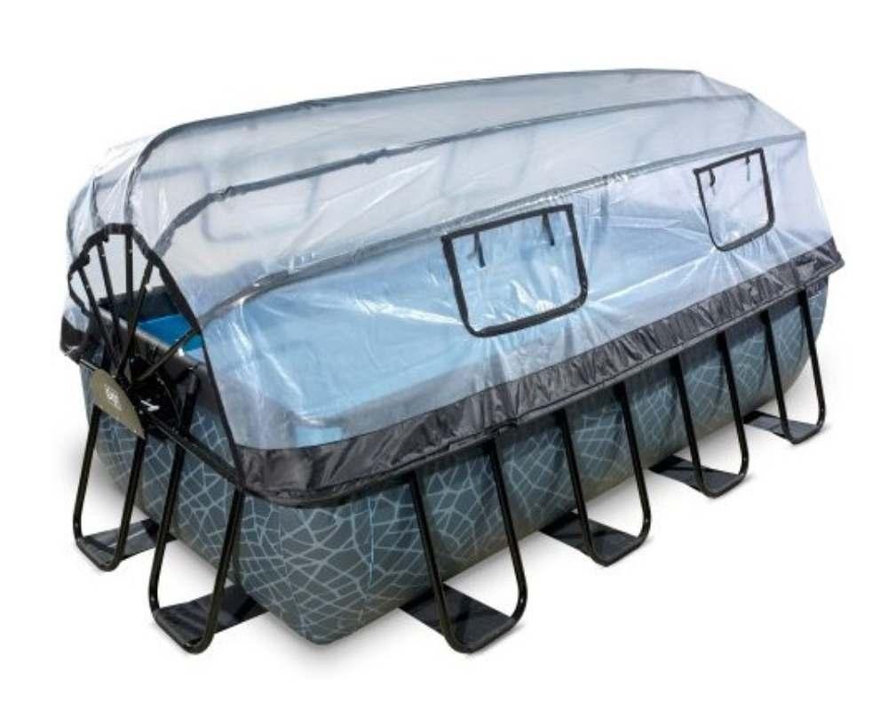 прямоугольный бассейн 400x200x100 см с тентом