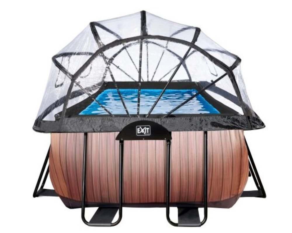 прямоугольный бассейн 540x250x122 см сбоку с тентом