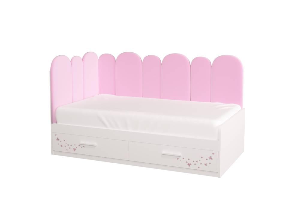 подростковая кровать холидей с мягкой спинкой розовая