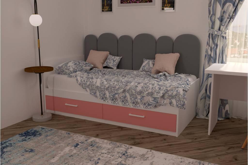 подростковая кровать софи с мягкой спинкой розовая