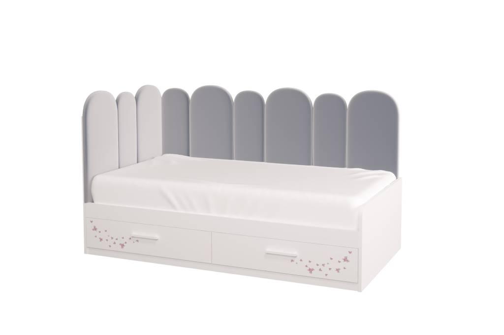 подростковая кровать холидей с мягкой спинкой и рисунком