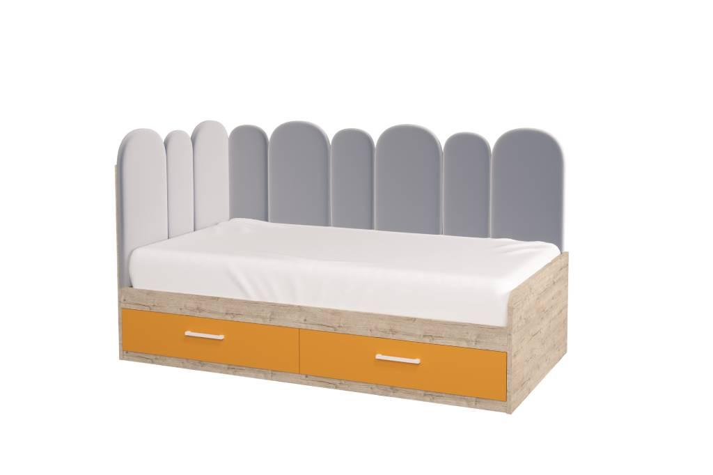 подростковая кровать холидей с мягкой спинкой оранжевая