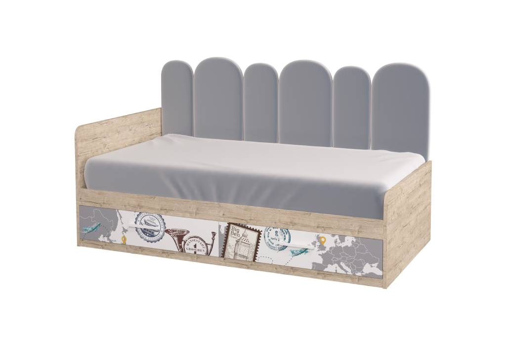 подростковая кровать софи с мягкой спинкой