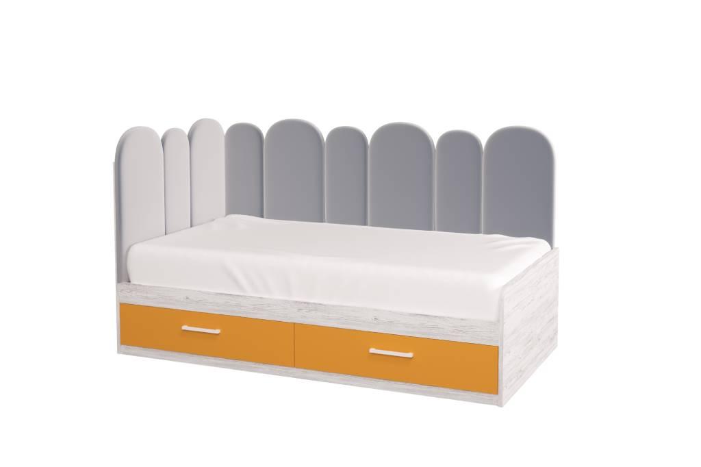 подростковая кровать холидей с мягкой спинкой оранжевая для девочки