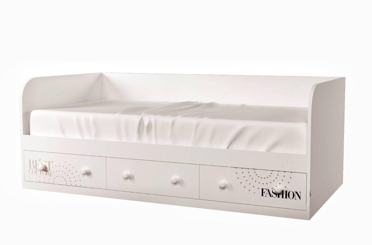 кровать с 3 ящиками fashion белая