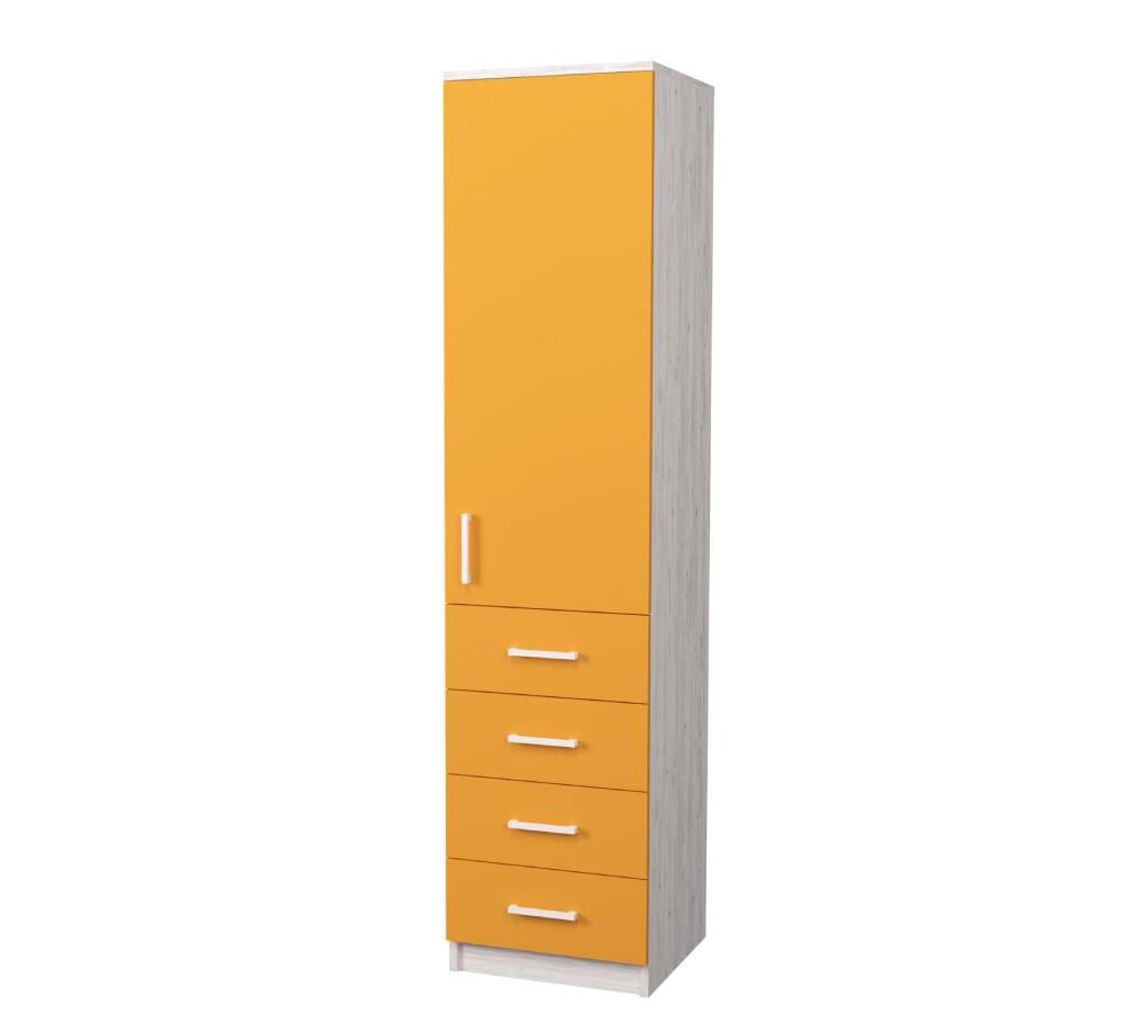 пенал в детскую с высоким фасадом и 4 ящиками оранжевый