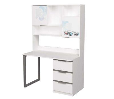стол с надстройкой с металлическими ножками и 3 ящиками