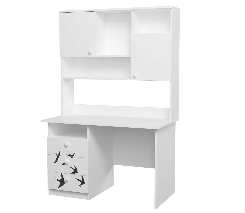 письменный стол с надстройкой в детскую ласточки белый