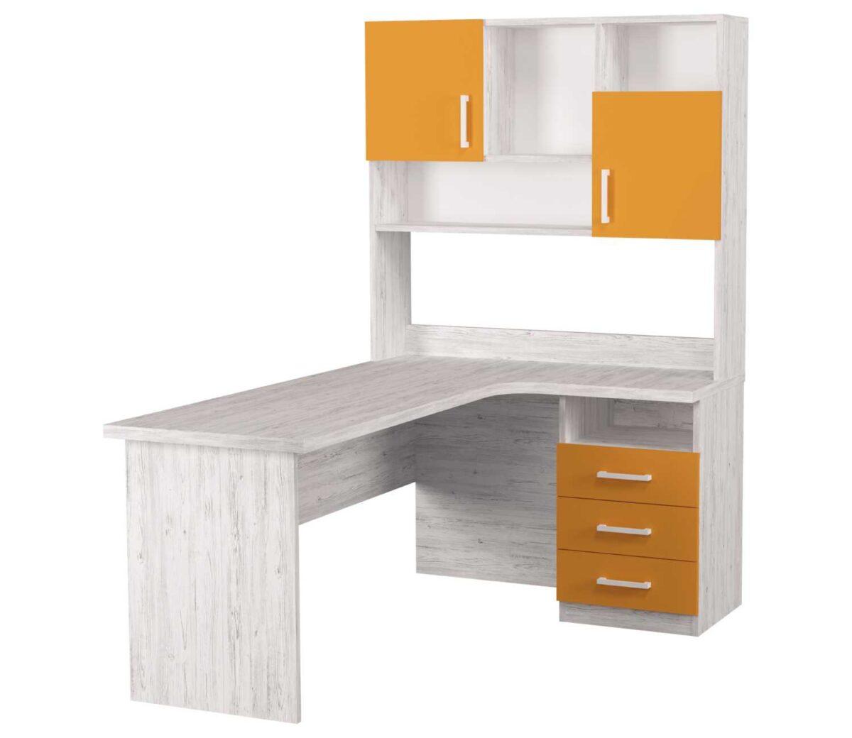 угловой детский стол с надстройкой оранж с 3 ящиками и 2 дверками