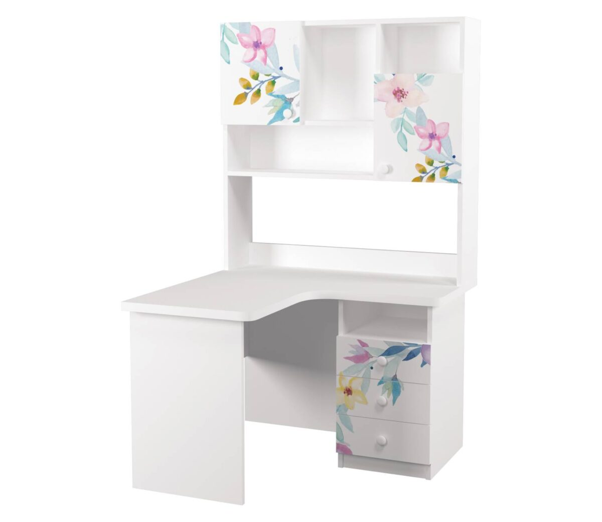 угловой письменный стол с надстройкой цветы левый угол