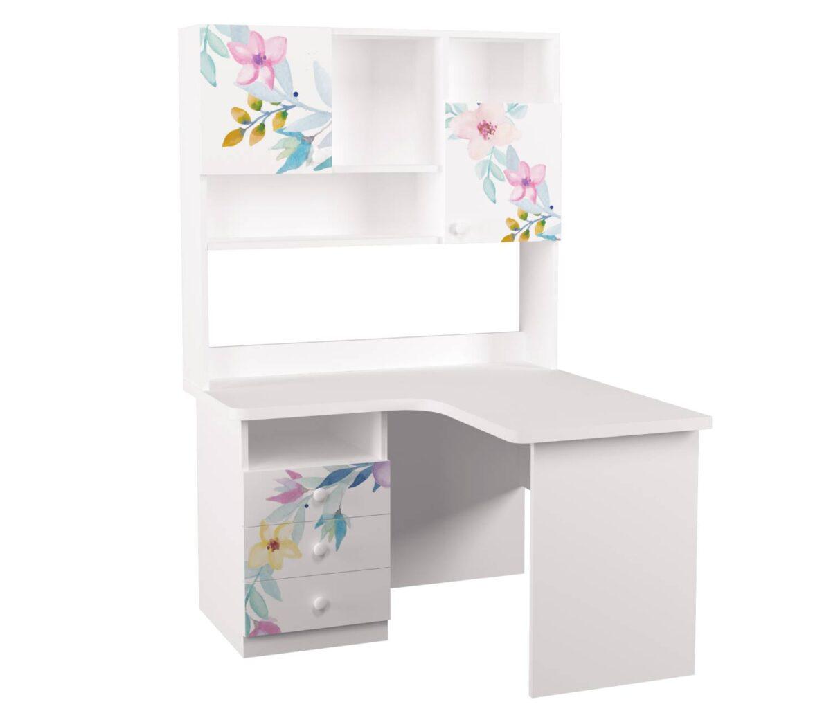 угловой письменный стол с надстройкой цветы правый угол