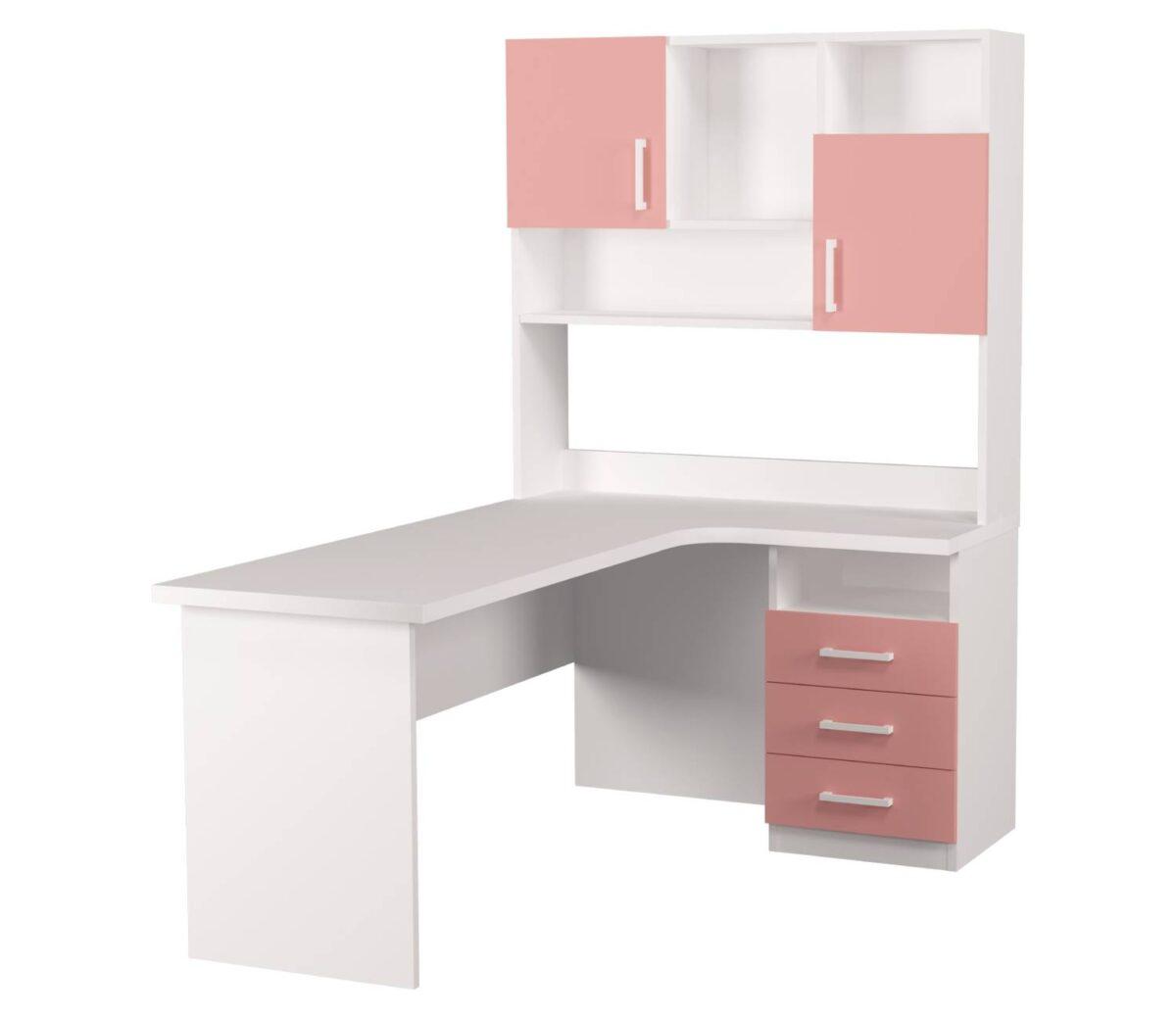 угловой детский стол Fashion.с надстройкой розовая 3 ящика