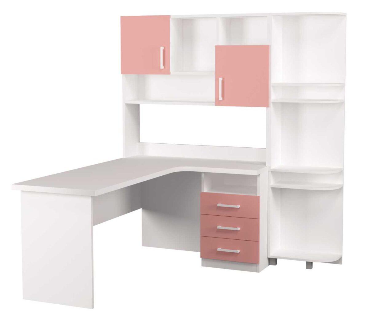 детский письменный стол угловой с эркером белый с розовым