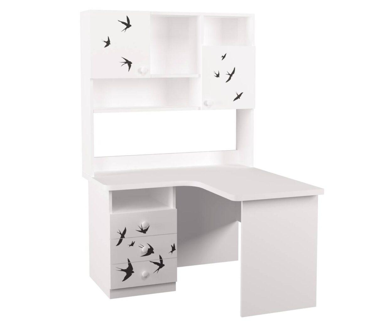 угловой письменный стол с надстройкой ласточки правый угол