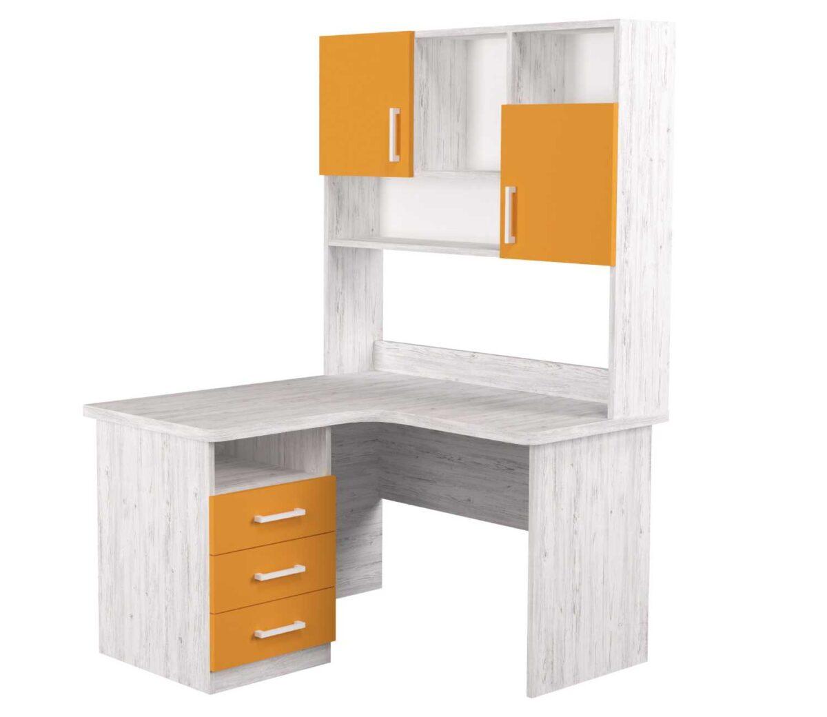 угловой детский стол с надстройкой оранж с 3 ящиками