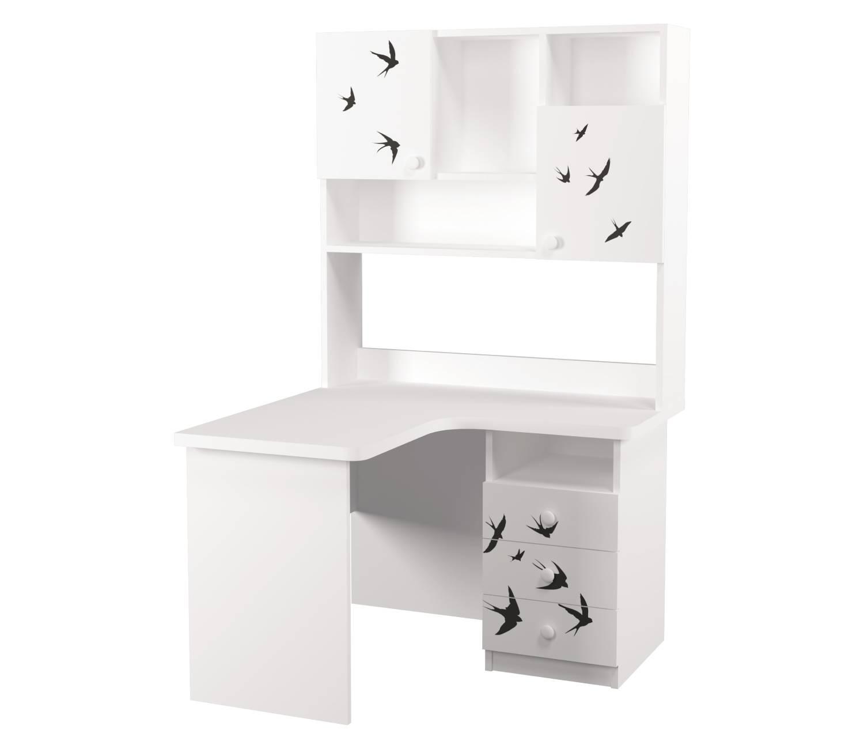 угловой письменный стол с надстройкой ласточки левый угол