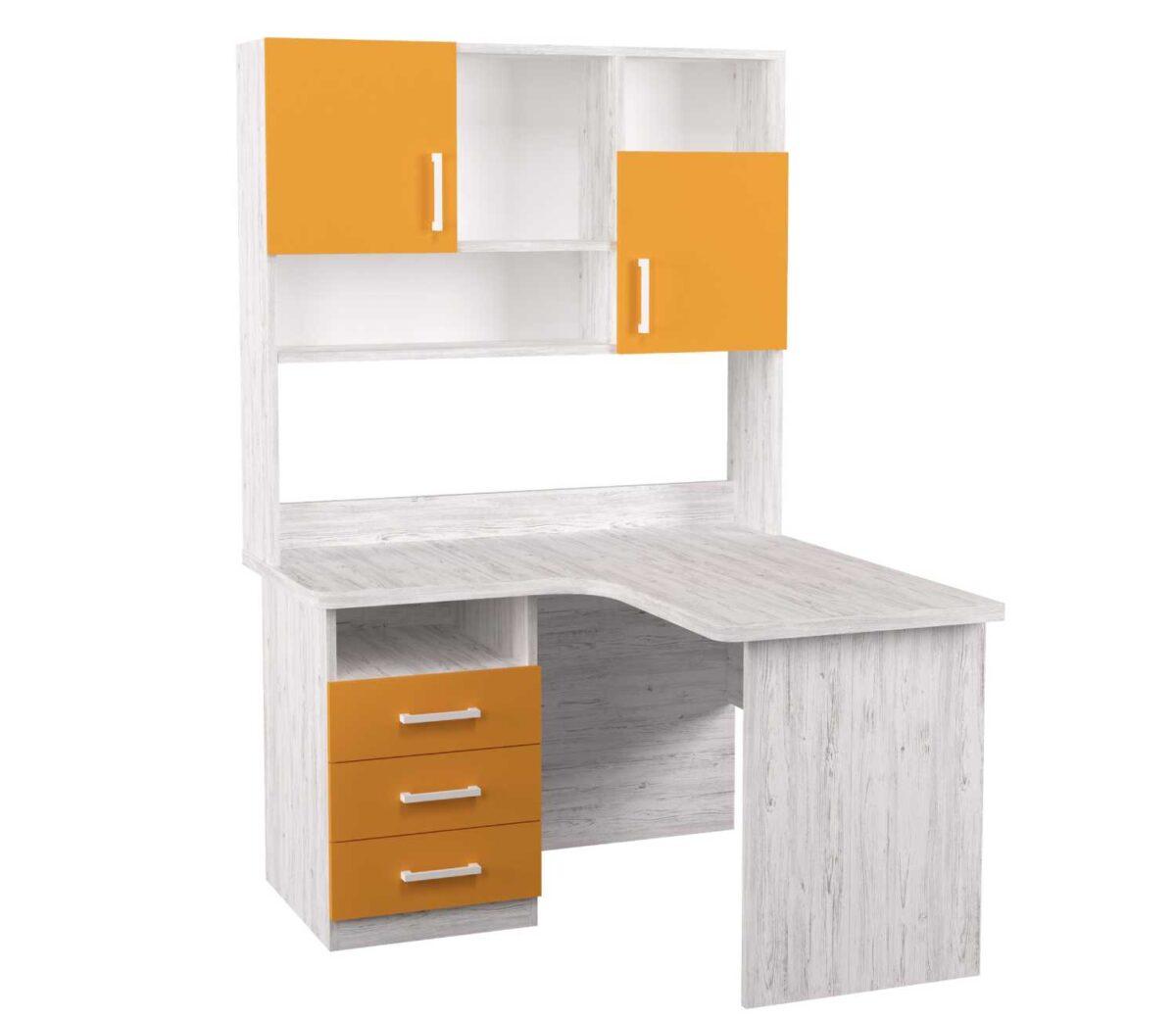 угловой детский стол с надстройкой аляска оранж с 3 ящиками