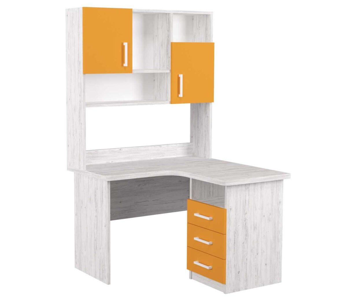 угловой детский стол с надстройкой аляска оранж