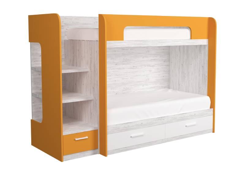двухъярусная кровать оранжевая аляска