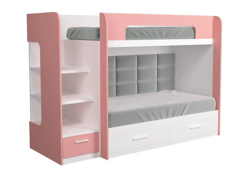 двухъярусная кровать розовая с мягкой спинкой аляска
