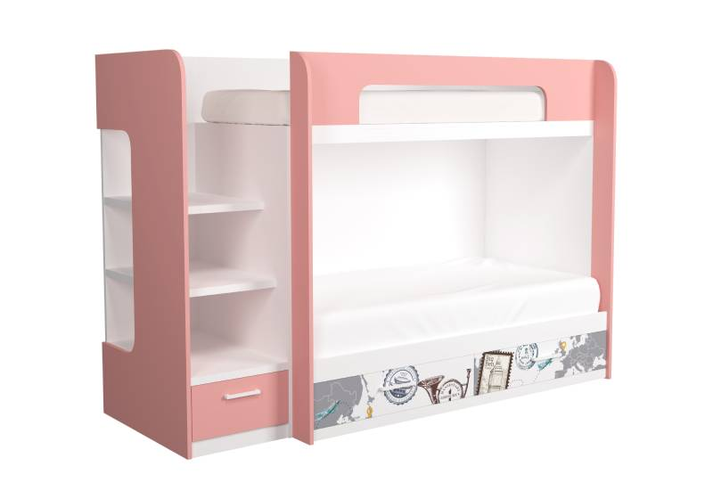 двухъярусная кровать бело розовая