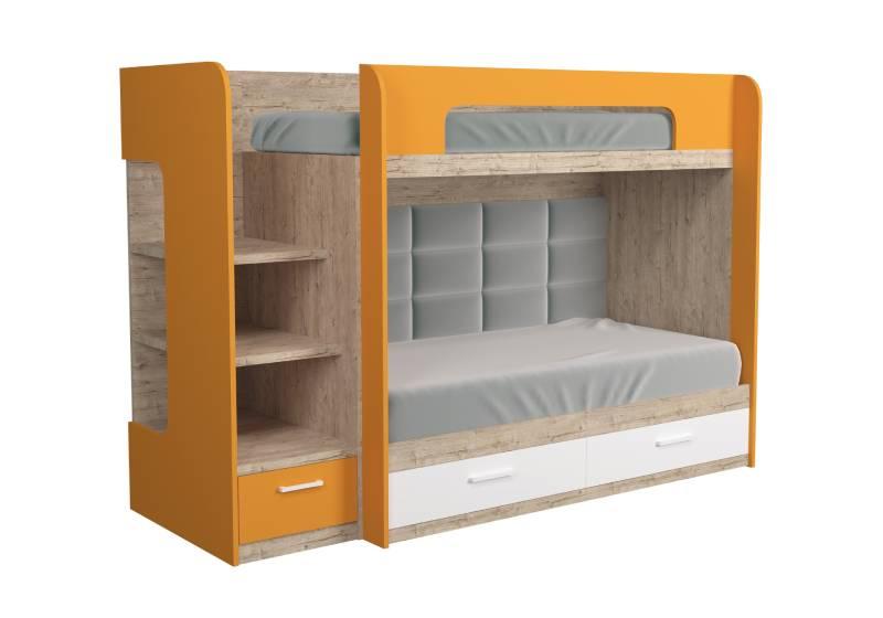 двухъярусная кровать оранжевая с мягкой спинкой шервуд