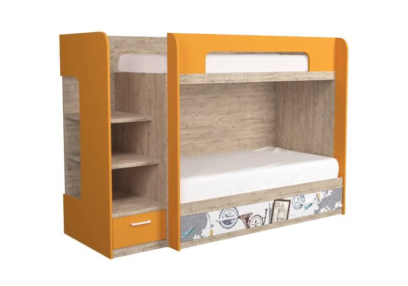 двухъярусная кровать шервуд оранжевая с рисунком