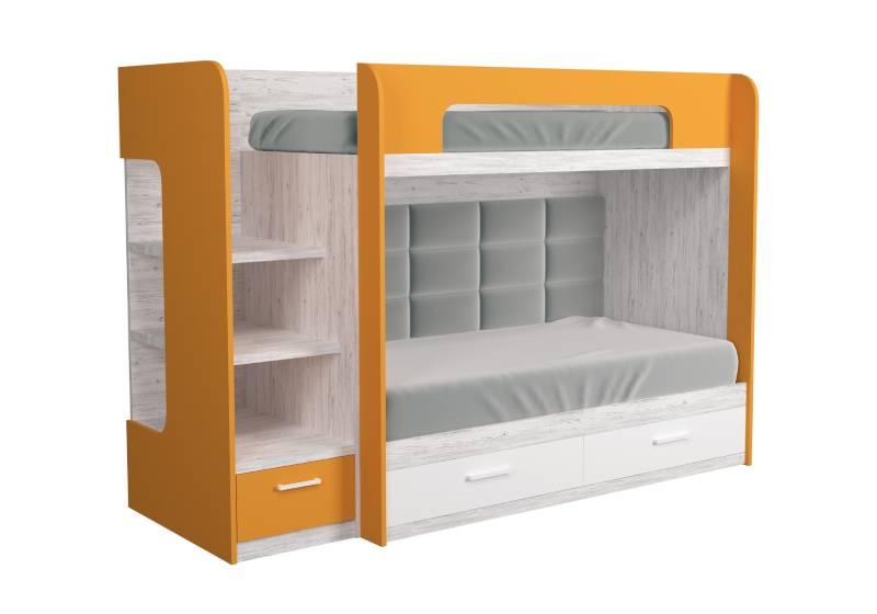 двухъярусная кровать оранжевая с мягкой спинкой