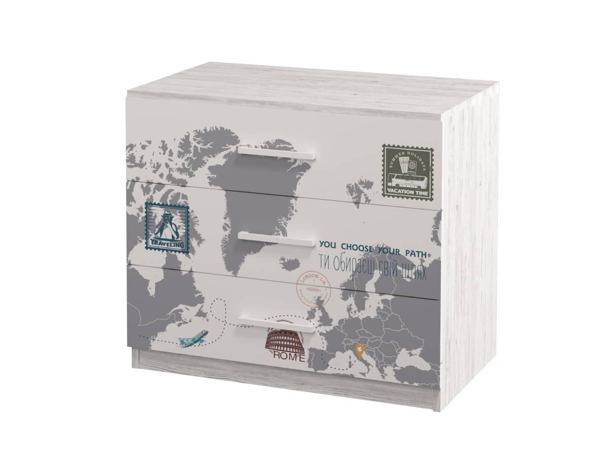 комод в детскую на 3 ящика с рисунком аляска
