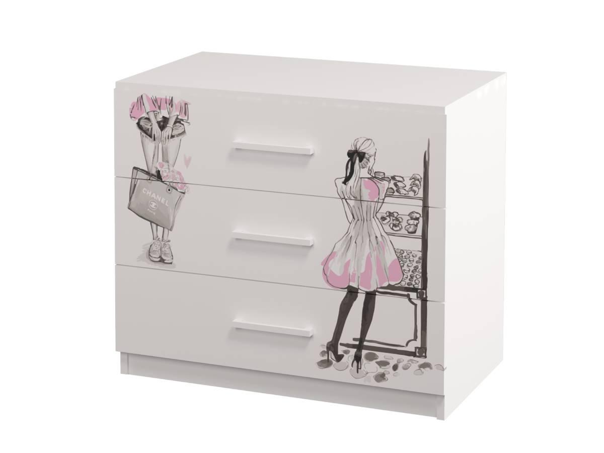 комод в детскую на 3 ящика с рисунком фешн девушка