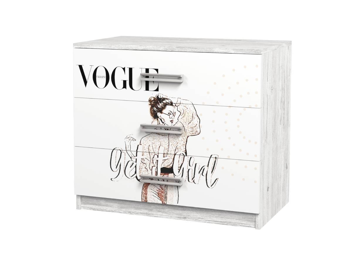 комод в детскую на 3 ящика с рисунком vogue
